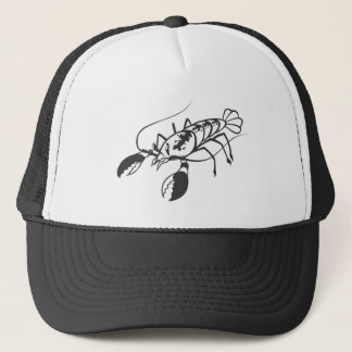 Serious Lobster in Black and White Trucker Hat
