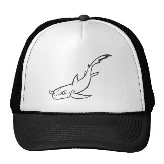 Serious Nurse Shark Fish in Black and White Mesh Hats
