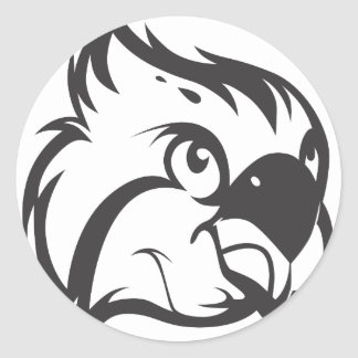 Serious Osprey Bird in Black and White Round Stickers