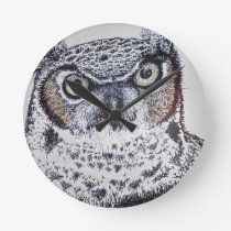 Serious Owl Round Clock