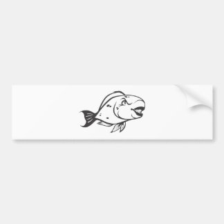 Serious Parrot Fish in Black and White Bumper Sticker