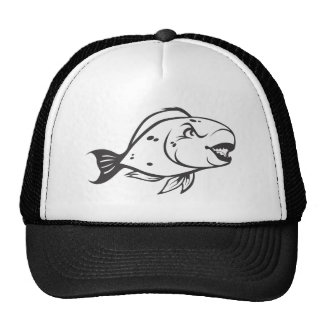 Serious Parrot Fish in Black and White Trucker Hat