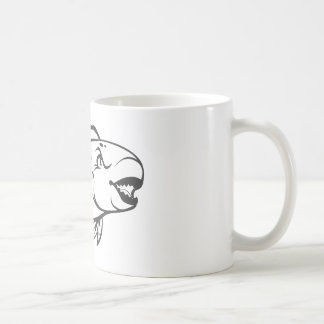 Serious Parrot Fish in Black and White Coffee Mugs