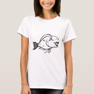 Serious Parrot Fish in Black and White T-Shirt