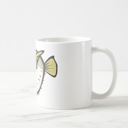 Serious Puffer Fish in Black and White Coffee Mug
