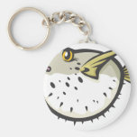 Serious Puffer Fish in Black and White Keychain