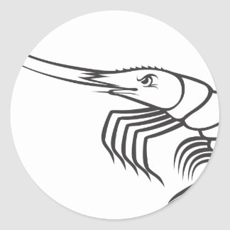 Serious Shrimp in Black and White Classic Round Sticker