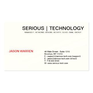 SERIOUS | TECHNOLOGY, JASON WARREN, 45 Main Str... Business Card