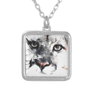 Seriously cougar animal art silver plated necklace