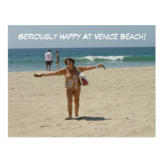 Seriously Happy Venice Beach Postcard! Postcard