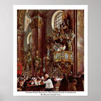 Sermón alemán del púlpito en la iglesia parroquial poster
