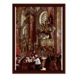 Sermón alemán del púlpito en la iglesia parroquial postales