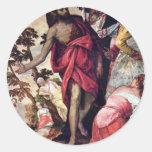 Sermon Of John The Baptist By Veronese Paolo Round Sticker