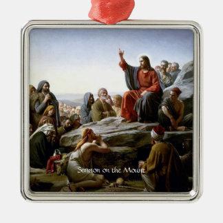 Sermon on the Mount Square Metal Christmas Ornament