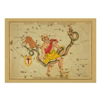 Serpens - Vintage Astronomical Star Chart Image Posters