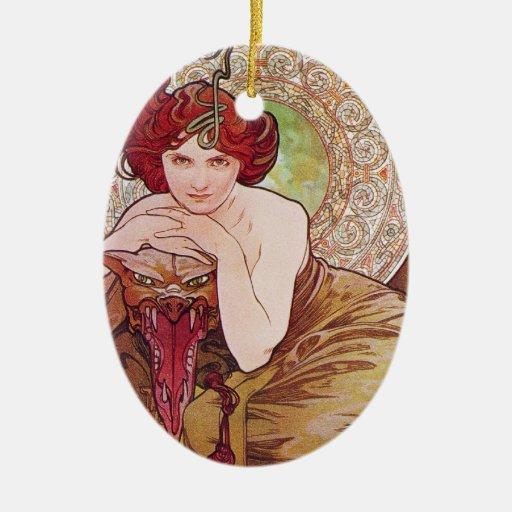 Serpent Art Nouveau Double-Sided Oval Ceramic Christmas Ornament