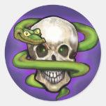 Serpent n Skull Round Stickers