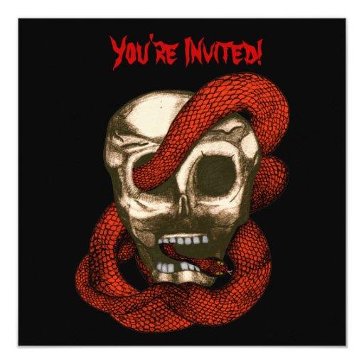 Serpent & Skull (Fire Red) 5.25x5.25 Square Paper Invitation Card