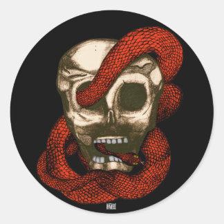 Serpent & Skull (Fire-Red) Round Sticker