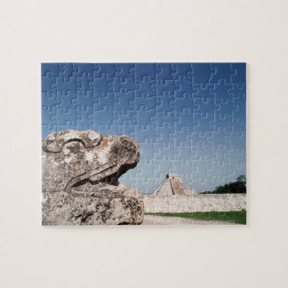 Serpent statue by pyramid in Mexico Jigsaw Puzzle