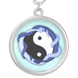 Serpents Dual (Blue) Round Pendant Necklace