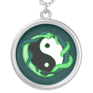 Serpents Dual (green) Round Pendant Necklace