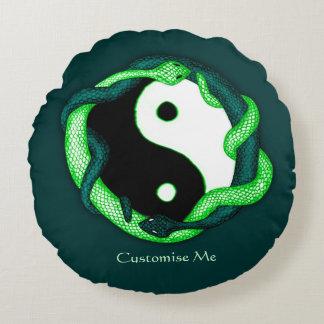 Serpents Dual (Green) Round Pillow