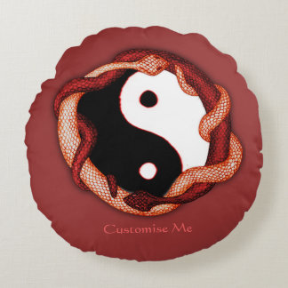 Serpents Dual (Red) Round Pillow