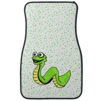 Serpiente amarilla verde sonriente linda del alfombrilla de auto