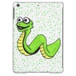 Serpiente amarilla verde sonriente linda del dibuj
