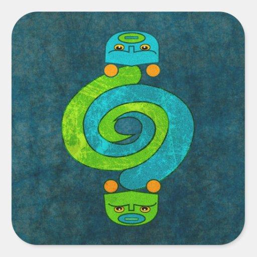 Serpiente andina pegatina cuadrada