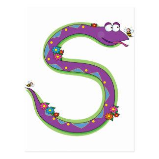 Serpiente animal del alfabeto tarjetas postales