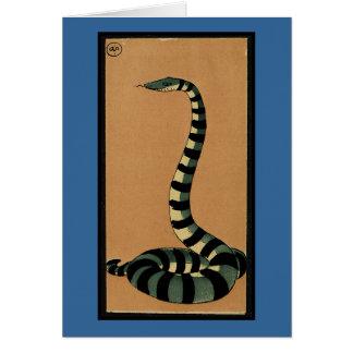 Serpiente - anticuaria, ejemplo de libro colorido tarjeta de felicitación