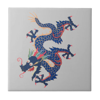Serpiente asiática china Qing loco azul del dragón Azulejo Cuadrado Pequeño