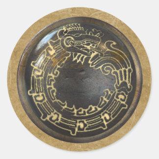 Serpiente azteca pegatinas redondas