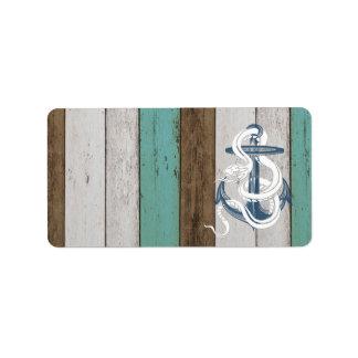 Serpiente azul del blanco del ancla del vintage fr etiqueta de dirección