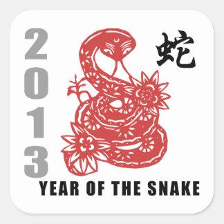 Serpiente china 2013 del zodiaco etiqueta