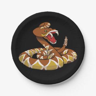 Serpiente de cascabel de Diamondback Plato De Papel De 7 Pulgadas
