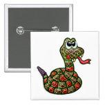 Serpiente de cascabel de Fanged del oro Pin Cuadrado