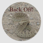 Serpiente de cascabel de pradera R0009 arrollada Pegatinas Redondas