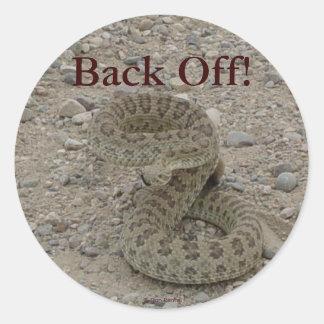 Serpiente de cascabel de pradera R0009 arrollada Pegatina Redonda