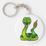 Serpiente de cascabel del dibujo animado llaveros personalizados