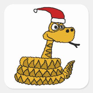 Serpiente de cascabel divertida en arte del pegatina cuadrada