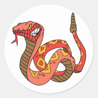 Serpiente de cascabel roja impresionante pegatina