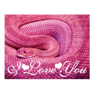 Serpiente de cascabel rosada del basilisco te amo postal