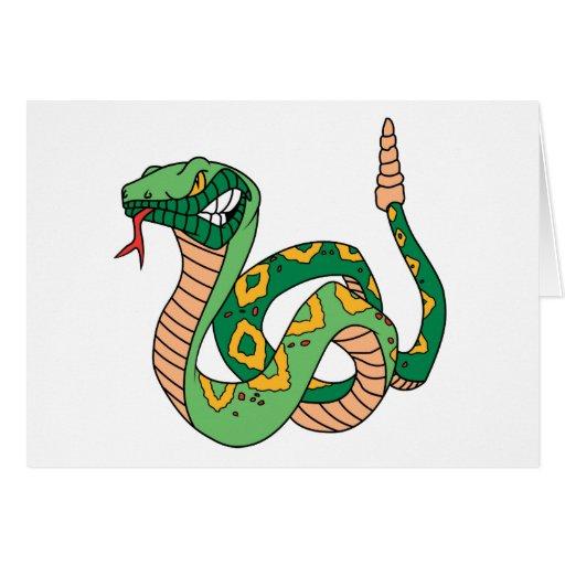 Serpiente de cascabel verde impresionante tarjeta de felicitación