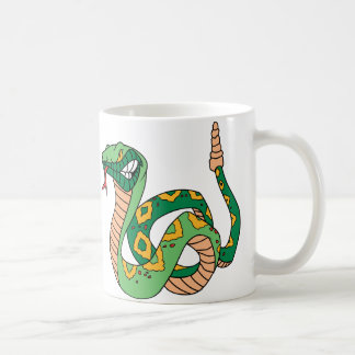 Serpiente de cascabel verde impresionante tazas de café