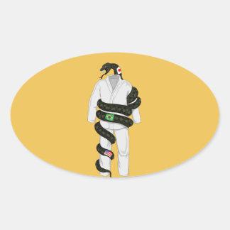 Serpiente de Jiu Jitsu del brasilen@o Pegatina Ovalada