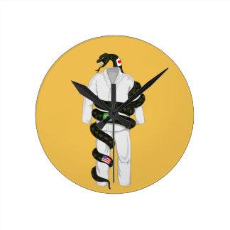 Serpiente de Jiu Jitsu del brasilen@o Reloj Redondo Mediano