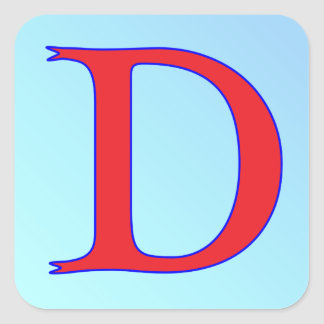 Serpiente de la letra D Pegatina Cuadrada